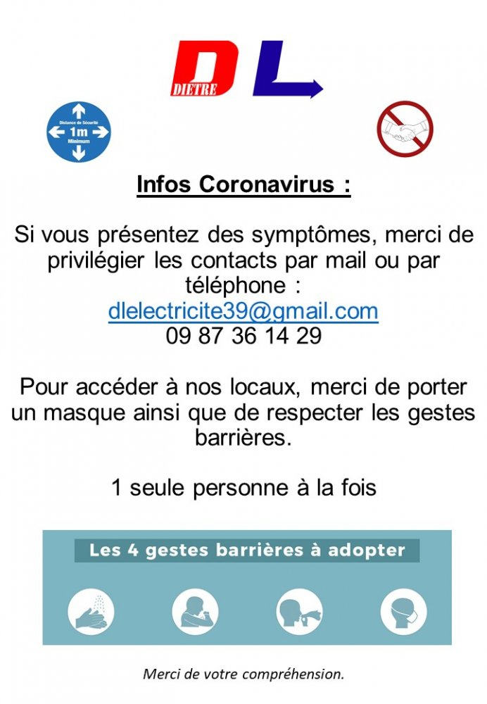 Dole Jura Electricien coronavirus